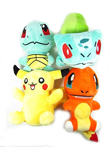 OliaDesign Pokémon Pikachu Bulbasaur Squirtle Charmander Soft Plush (4 Pieces)