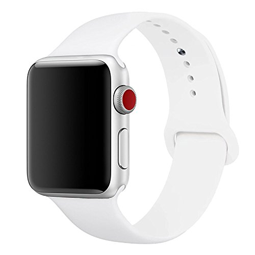 iMOMO Sport Band Compatible with iWatch, Soft Silicone Sport Band [3 Pieces for 2 Lengths] Large/Small Wrist Strap Replacement for iWatch 1 2 3 4 All Models 42mm /44mm - White