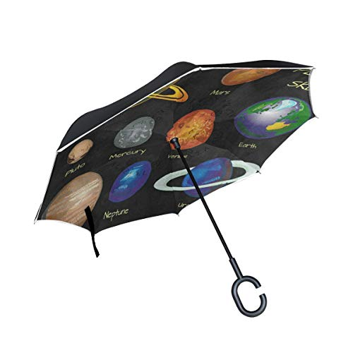 All agree Reverse Umbrella Planet Solar System Inverted Umbrella Reversible for Golf Car Travel Rain Outdoor Black
