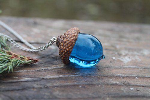 Peter Pan Glass Acorn Necklace Birthstone Turquoise, acorn ornament, made from flamework glass and an acorn cap