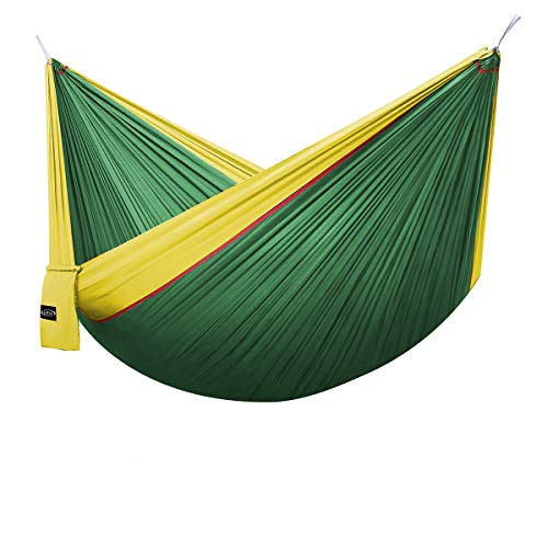 G4Free Double Camping Hammock - Portable High Strength Hammock - Lightweight Blend Color Nylon Fabric Parachute for Outdoor. Hammock Straps & Steel Carabiners Include(Yellow/Dark -