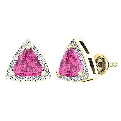 - Dazzlingrock Collection 18K 6 MM Trillion Lab Created Pink Sapphire & Round Diamond Ladies Halo Stud Earrings, Yellow Gold