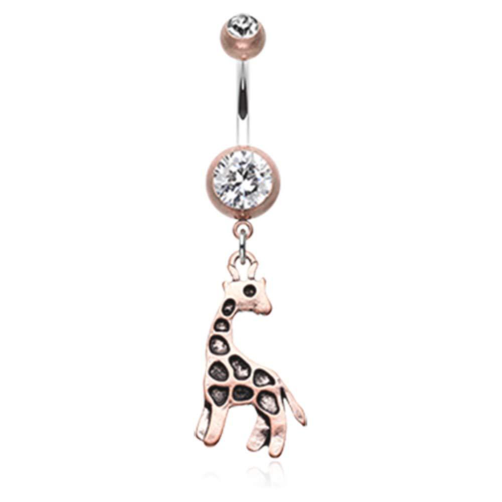 Sold Individually 14 GA Vintage Boho Giraffe Dangle Belly Button Ring Davana Enterprises