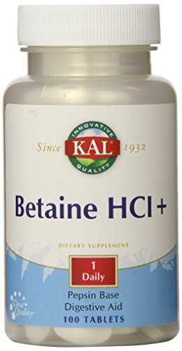 KAL Betaine HCL Tablets, 250 mg, 100 Count