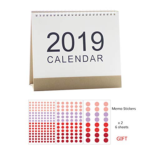 (MultiBey Desktop Calendar DIY Table Stand Agenda 2019 Planner with Round Dot Sticker Memo Marker US Version Business Gift (S (6.5