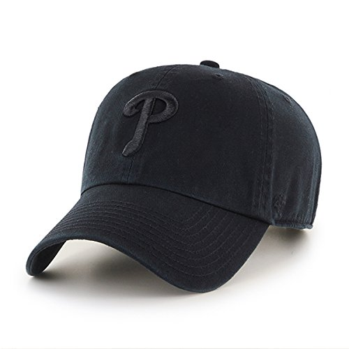'47 Philadelphia Phillies Hat MLB Authentic Brand Clean Up Adjustable Strapback Black Baseball Cap Adult One Size Men & Women 100% Cotton