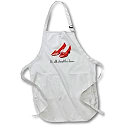 3dRose apr_108339_1 Its All About The Shoes, Ruby Slippers Wizard of Oz 22-Inch Width by 30-Inch Length Apron with Pockets, Full Length, White