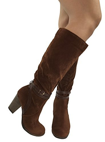 lowest price cost charm pretty cheap SPIRIT MODA Women's Fiona Stylish Tall Boots Mid Knee High Chunky Heel