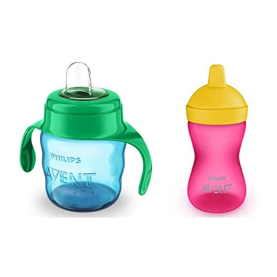 Philips Avent Grippy Spout Cup, 300ml, Multicolor with Philips Avent Classic Soft Spout Cup, 200ml (Green/Blue)
