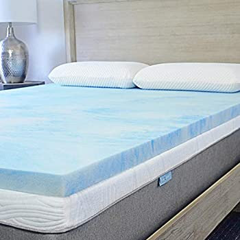 Sure2Sleep King Premium, 3 LB. High-Density Cool Gel Swirl Memory Foam Mattress Topper Made in USA 2-Inch
