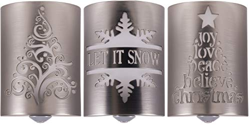 (Lights By Night LED Christmas Night Lights, CoverLite 3-Pack, Designer Brushed Nickel Finish, Elegant Christmas Tree, Let It Snow and Love Joy Peace, Decorative Holiday Home Lighting, 43885 (3 Pack))
