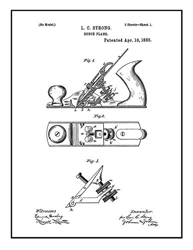 (Bench Plane Patent Print Black Ink on White with Border (5