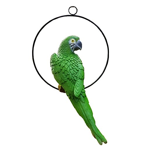 S&F Life Size Hanging Parrot Statue Like a Real Parrot Patio Lawn Ideal Decor for Nature Lovers Tropical Bird Collectors Summer Theme (Green)]()