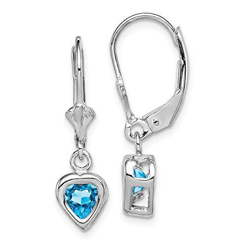 925 Sterling Silver 5mm Heart Blue Topaz Leverback Earrings Lever Back Drop Dangle Love Fine Jewelry Gifts For Women For Her