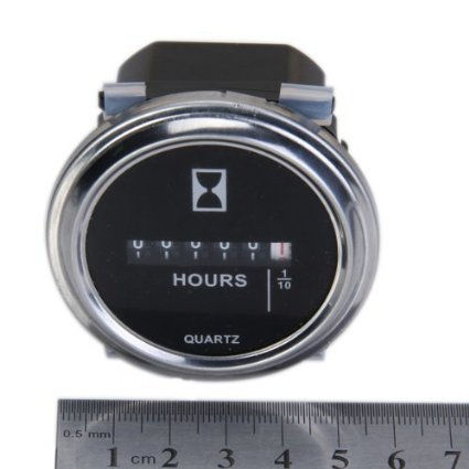 Qiorange Round Hour Meter Gauge Hourmeter 6 to 80V Boat Outboard Inboard Marine Lawn Tractor DC Round Silvery Trim Ring