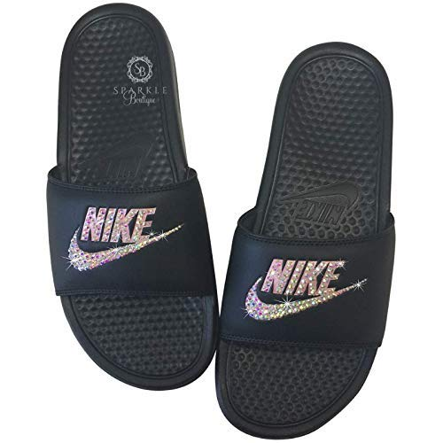 aa9a1e4a0c95 Amazon.com  Nike Blinged Out Slides for Women - Bling Swarovski Bedazzled  Kicks - NIKE Benassi JDI Slides Rose Gold and Black with Pink AB Crystals   ...