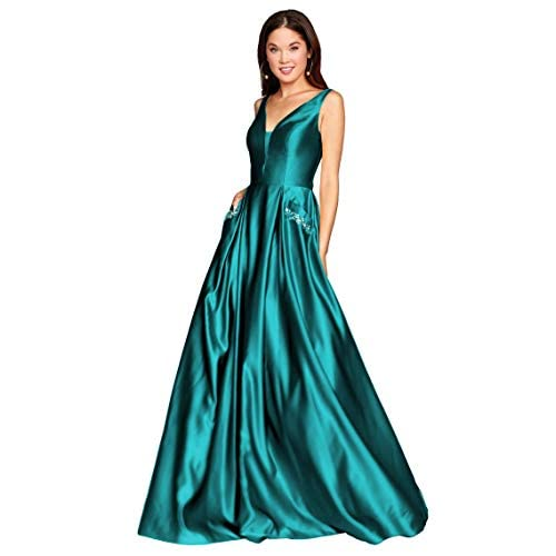 Zhongde Womens V Neck Open Back Ruched Chiffon Boho Long Bridesmaid Dress Formal Evening Gown