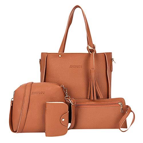 4pcs Women Leather Handbag Shoulder Bags Tote Purse Messenger Satchel