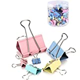 Colorful Metal Binder Clips Paper Clamp Clips Assorted 6 Sizes.