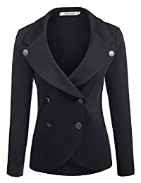 Meaneor Women's Slim Fit Blazer Casual Work Double Breasted Peplum Crop Jacket