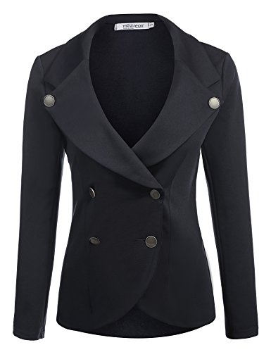 Meaneor Women Thin Peplum Casual Work Blazer Jacket Coat Tops Black/M