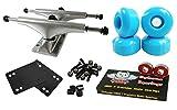 Owlsome 5.25 Polished Aluminum Skateboard Trucks w/ 52mm Wheels Combo Set (Baby Blue)