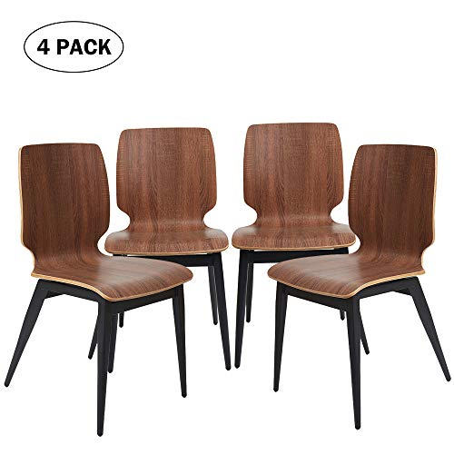 (4 Set Modern Dining Chairs Wooden Kitchen Side Chairs with Metal Legs, Comfy Dinner Chair for Cafe, Bistro and Restaurant, Ergonomic Design, Oak)