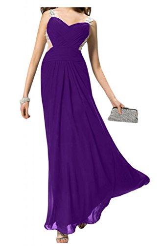 Novia encantadora dos-Traeger Toscana Rueckenfrei por la noche vestidos de gasa largo bola de vestidos de fiesta morado