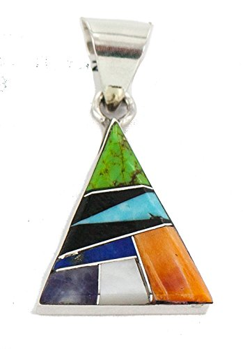 180 Retail Tag Triangle Navajo Authentic Made By Arnold Yazzie Silver Natural Multicolor Real Handmade Native American Inlaid Pendant