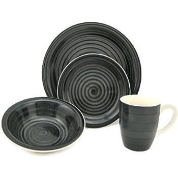Lorren Home Trends 16-Piece Stoneware Dinnerware Set Black  sc 1 st  Amazon.com & Amazon.com   Quadro 16-pc. Dinnerware Set - Black: Dishes ...