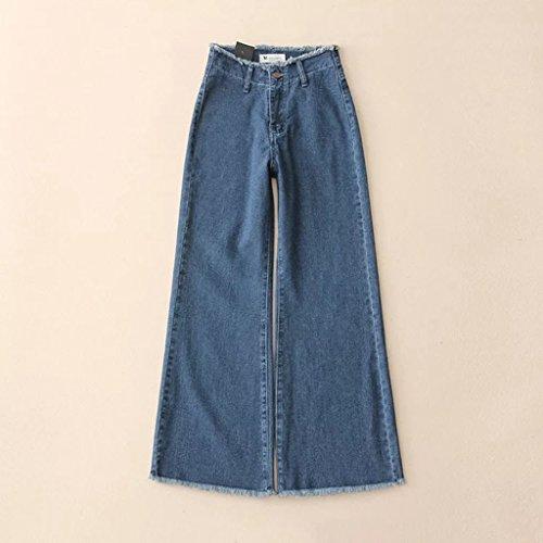 haute large M pour bas femmes Color volants en taille jeans coton Les Size nouveaux Blue Blue taille pxqnt0