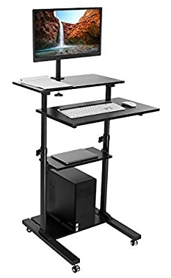 Mount-It! Mobile Stand Up Desk / Height Adjustable Computer Work Station Rolling Presentation Cart With Monitor Arm (MI-7942B)