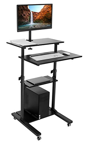 Mount-It! Mobile Stand Up Desk / Height Adjustable Computer Work Station Rolling Presentation Cart With Monitor Arm (MI-7942B) by Mount-It!