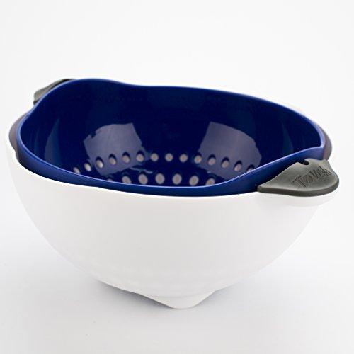 - Tovolo Soak N' Strain Colander, Easy-Pour Spout, 3.5 Quart Food Strainer, Stratus Blue