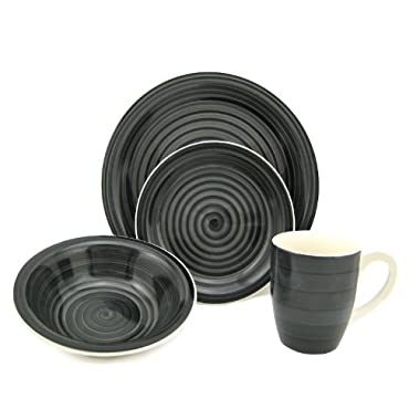 Lorren Home Trends 16-Piece Stoneware Dinnerware Set, Black