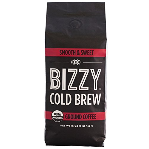 Bizzy Organic Cold Brew Coffee - Smooth & Sweet Blend - Coarse Ground Coffee - 16 oz