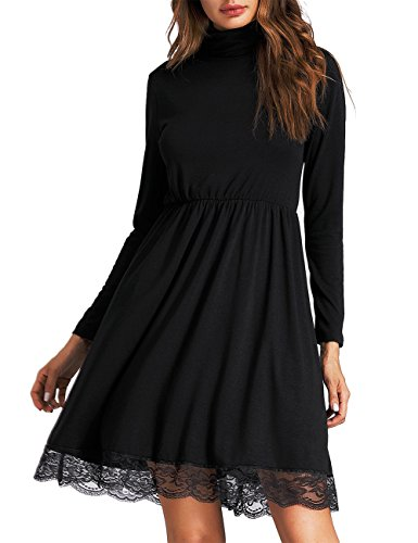 Turtleneck Flare (Leadingstar Women Knitting Turtleneck Long Sleeve Loose Lace Cotton Casual Dress (L, Black Lace))