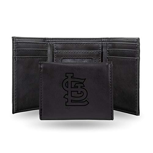 Rico St Louis Cardinals MLB Laser Engraved Black Trifold Wallet