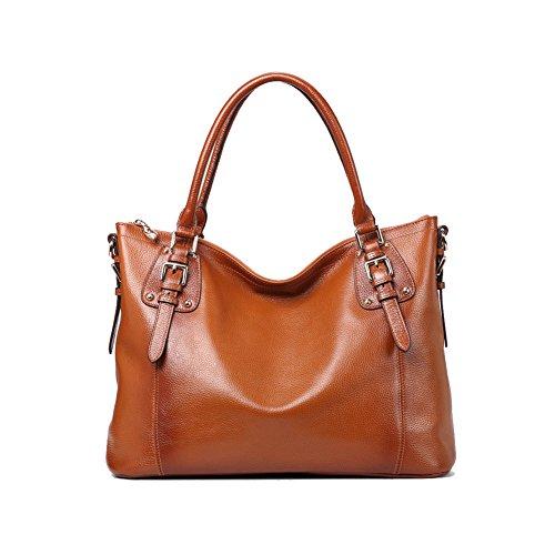 Bolso de Piel Bolso Cuero de Hombro Tote Bag para Mujer Negro Marrón