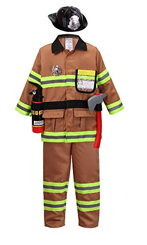 yolsun Tan Fireman Costume for Kids, Boys' and Girls' Firefighter Dress up and Role Play Set (7 pcs) (6-7Y, tan)