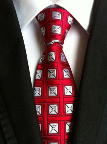New Classic Geometric Red White JACQUARD WOVEN 100% Silk Men's Tie - Armani Jojo