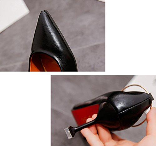 Boca Negro Puntiagudo Moda Verano y Versión Finos de LBDX Coreana Mujer Sexy Baja de Talón Fino Tacones Primavera Zapatos wxq1U0xpO