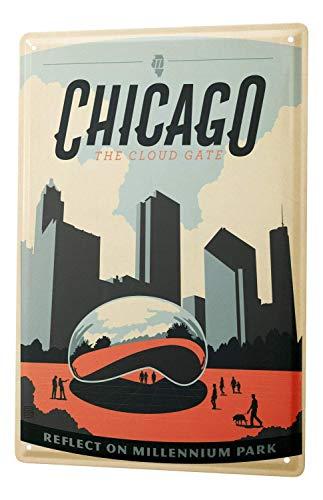 - New Tin Sign Deco City Chicago Millenium Park 8
