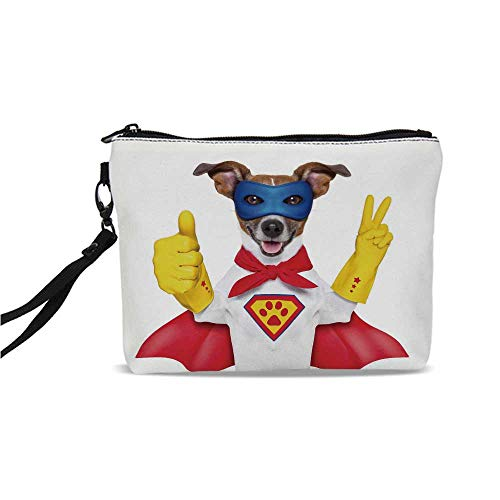 Superhero Simple Cosmetic Bag,Super Puppy Hero Dog in Cape and Mask Costume Humor Funny Cute Picture Decorative for Women,9