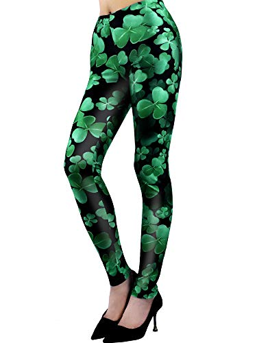 (Chuangdi St. Patrick's Day Leggings Irish Stretchy Tights Women Holiday Costume Tights for Irish Party Favor (Color 3,)