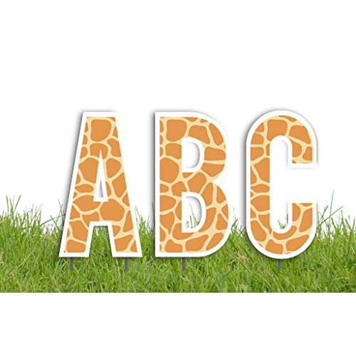 (VictoryStore Yard Letters: Cut-Out Alphabet Yard Decoration 18 inch High, Includes Stakes (Giraffe Print))