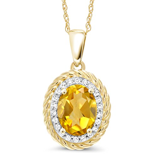 Gem Stone King 1.45 Ct Oval Yellow Citrine White Diamond 14K Yellow Gold Pendant