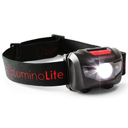LuminoLite Super Bright XPE CREE LED Headlamp 160 Lumens – 5 Lighting Modes, White & 2 Red LEDs, Comfy Adjustable Strap, IPX6 Waterproof Rated – Perfect For Running, Camping, Hiking, Fishing & Hunting