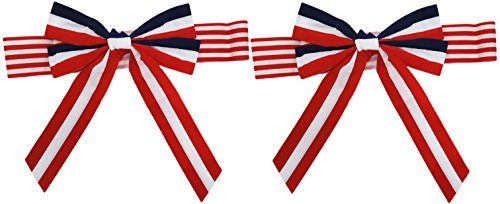 Set of 2 Patriotic Chair Bows! 2 Assorted Patterns - Red, White and Blue Color Scheme - 17.5