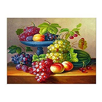 SODIAL(R) DIY Diamond Embroidery Delicious fruit Round Diamond Painting Cross Stitch(Compote) (Round Compote)